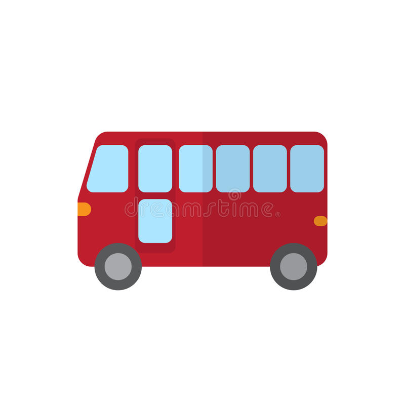 Повезите плоский значок на автобусе, заполненный знак вектора, красочную пиктограмму изолированную на белизне иллюстрация вектора