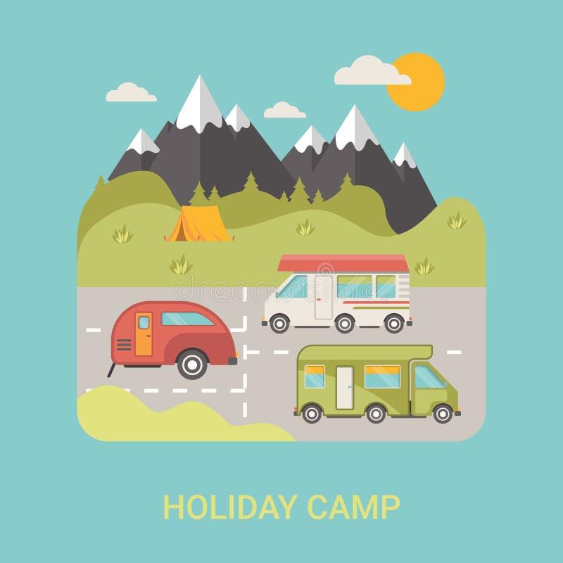 Повезите lo на автобусе иллюстрации стиля вектора станции лагеря плоское иллюстрация штока
