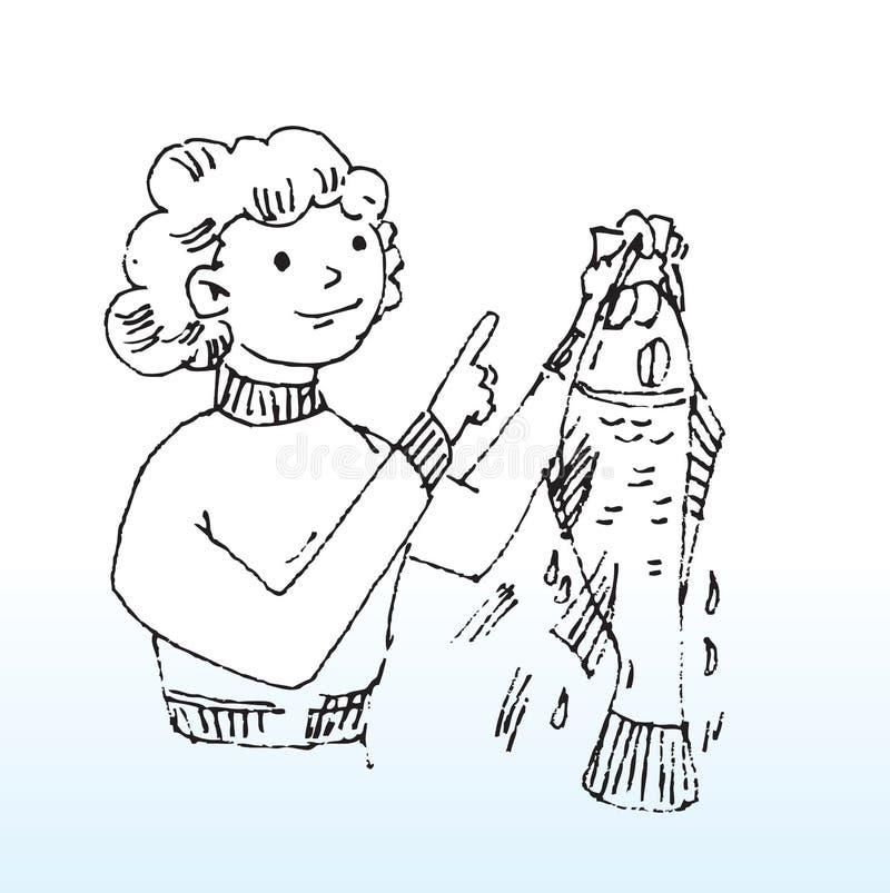повелительница рыб иллюстрация вектора