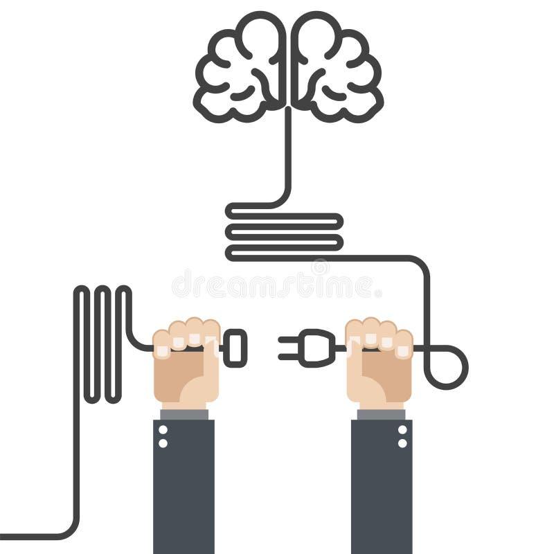 Поверните дальше ваш мозг - руки с штепсельной вилкой иллюстрация вектора
