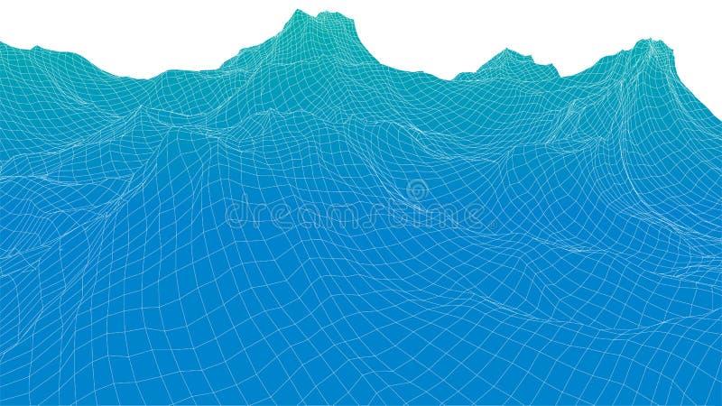 поверхность волны wireframe 3d иллюстрация вектора