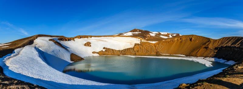 Поверхность зеленого цвета озера кратера Viti вулканическая с снегом и голубым небом p стоковые изображения