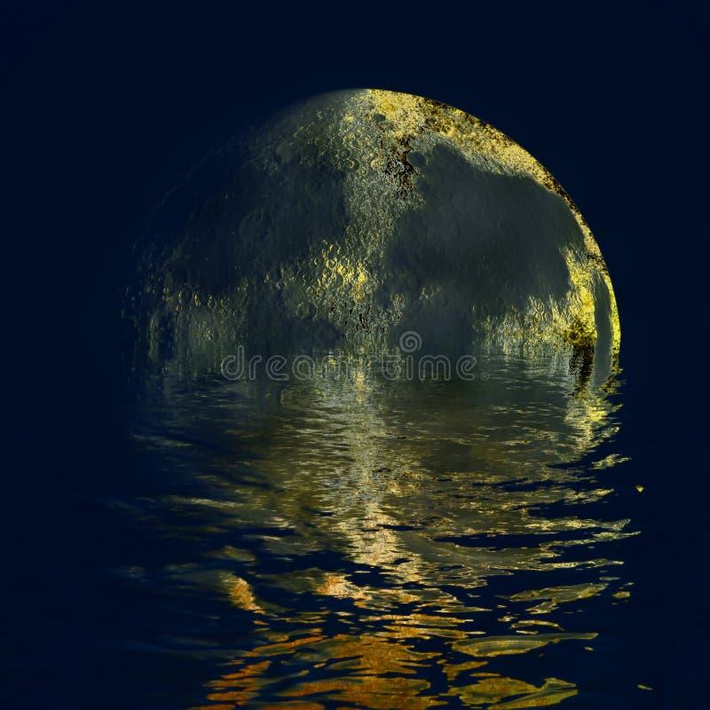 Поверхность золота луны иллюстрация штока