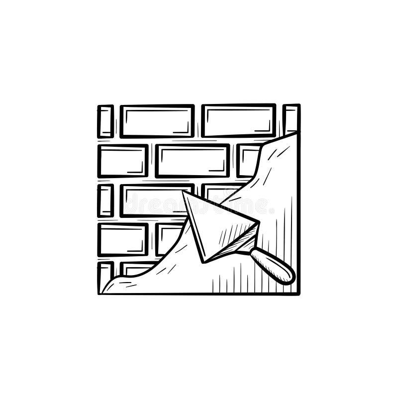 Поверхность кирпича твердая с значком шпателя нарисованным рукой иллюстрация вектора