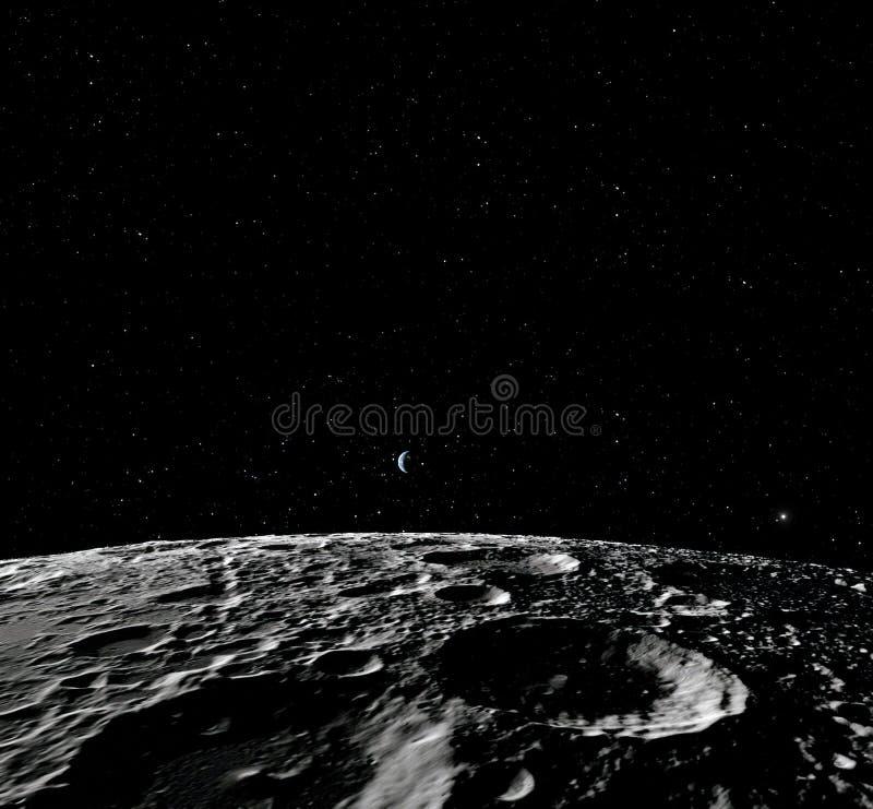 Поверхность луны Реалистические 3d представляют луны и космоса Космос и планета Спутник nebula звезды Элементы этого изображения иллюстрация штока