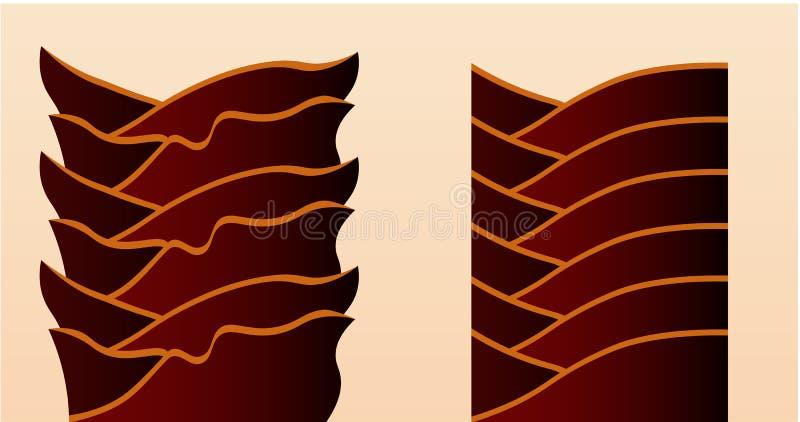 Поверхность поврежденных и здоровых волос под микроскопом иллюстрация вектора