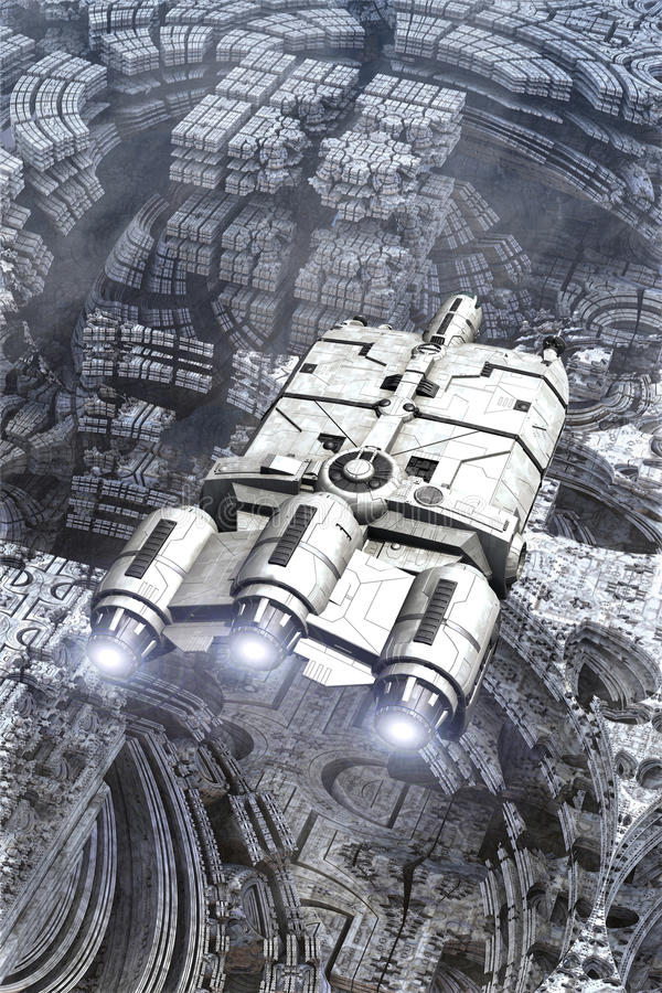 Поверхность планеты космического корабля и чужеземца иллюстрация вектора