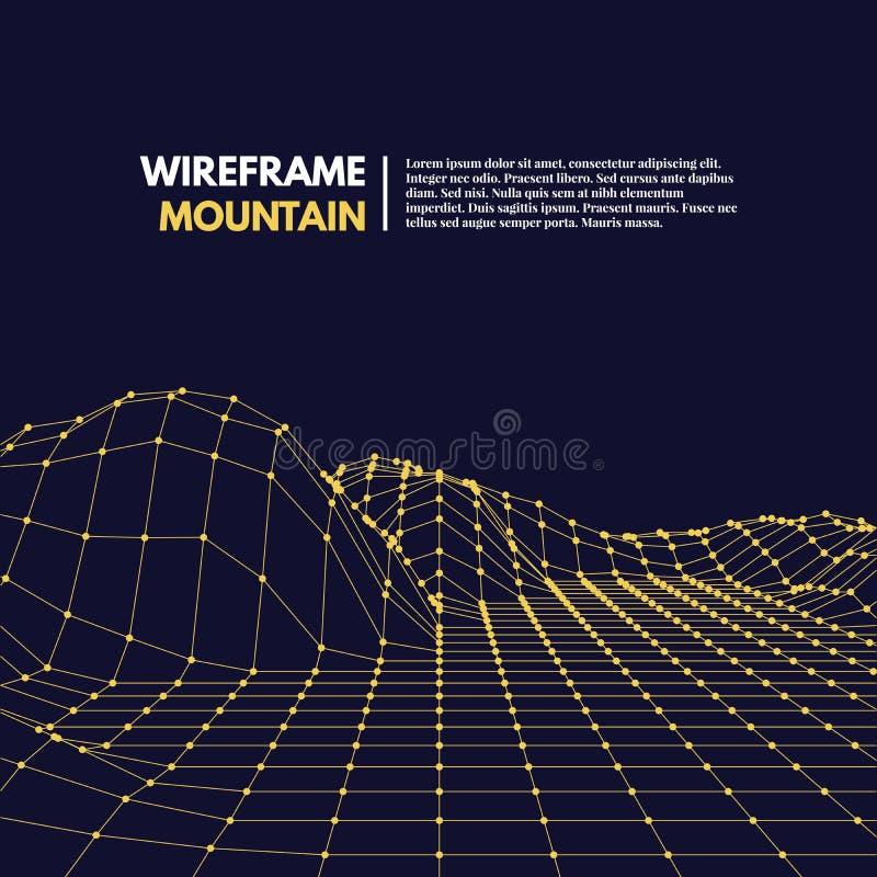 Поверхность сетки Wireframe полигональная иллюстрация вектора