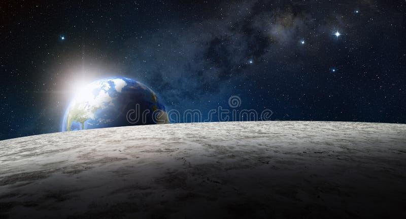 Поверхность луны и земля планеты на восходе солнца иллюстрация штока