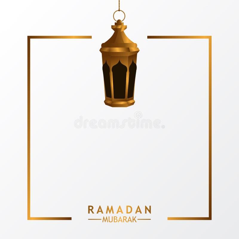 Повешенная золотая реалистическая роскошная лампа фонарика с белой предпосылкой для исламского события иллюстрация штока