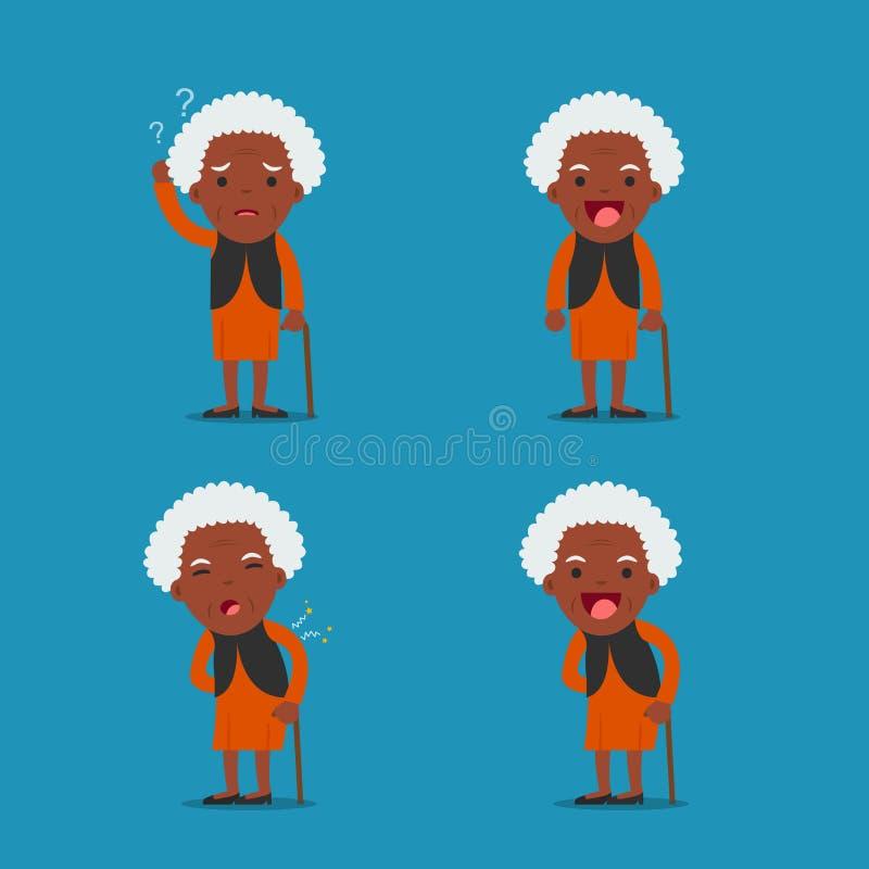 повелительница старая Бабушка в 4 различных представлениях иллюстрация вектора