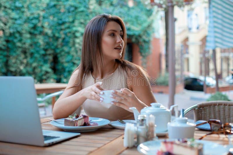 Повелительница с чашек чаю стоковая фотография