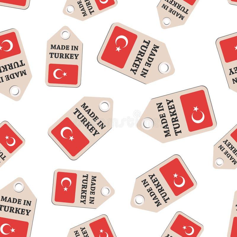 Повисните бирку сделанную в стикере Турции с backg картины флага безшовным бесплатная иллюстрация
