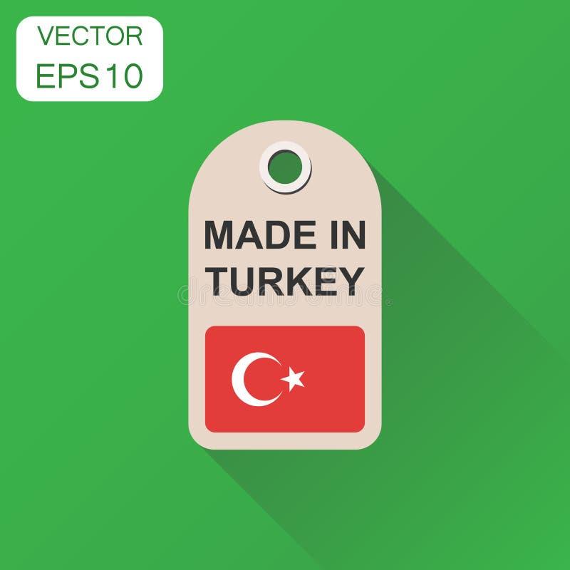 Повисните бирку сделанную в Турции с значком флага Manufac концепции дела бесплатная иллюстрация