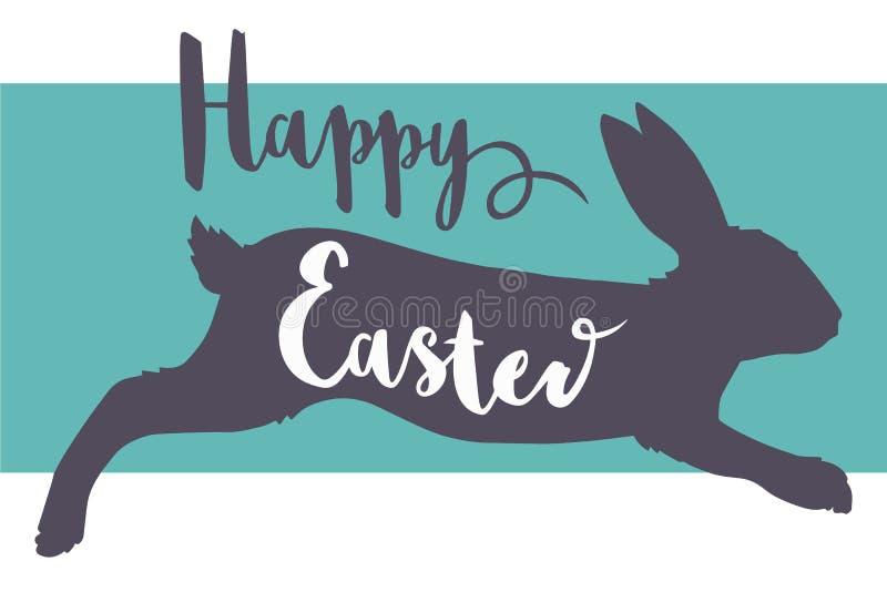 Повод поздравительной открытки шрифта оформления пасхи вектора счастливый со скача силуэтом кролика иллюстрация вектора