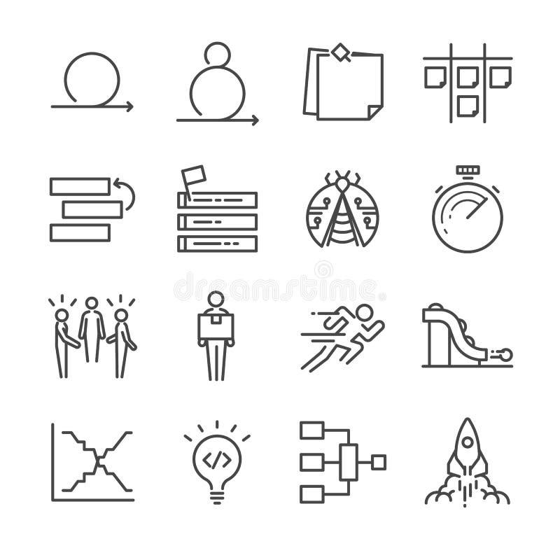 Поворотливые установленные значки разработки программного обеспечения бесплатная иллюстрация