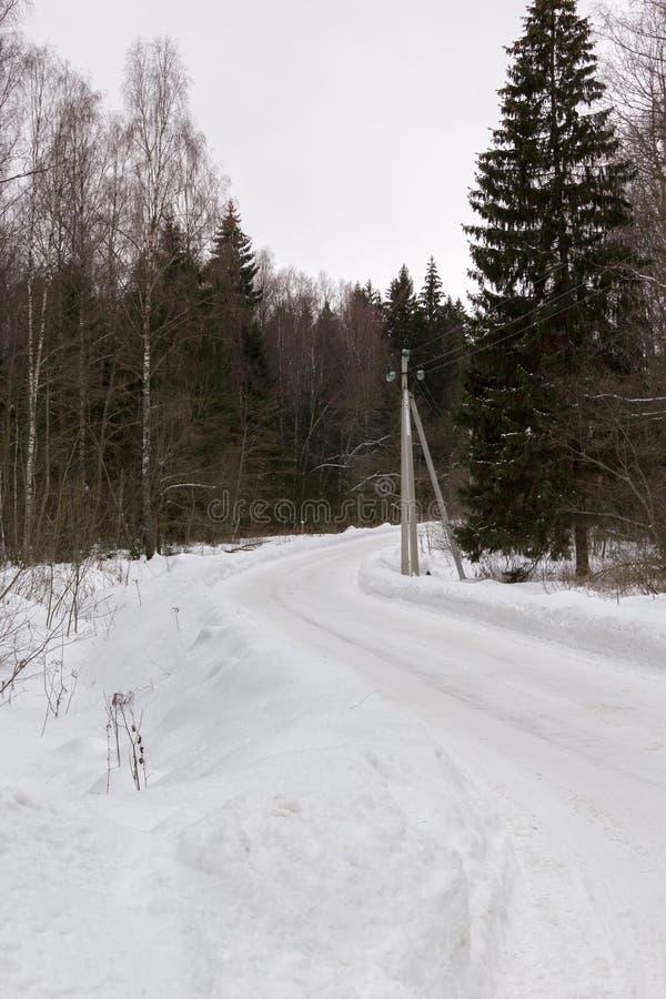 Поворот проселочной дороги в снежном лесе зимы стоковая фотография rf