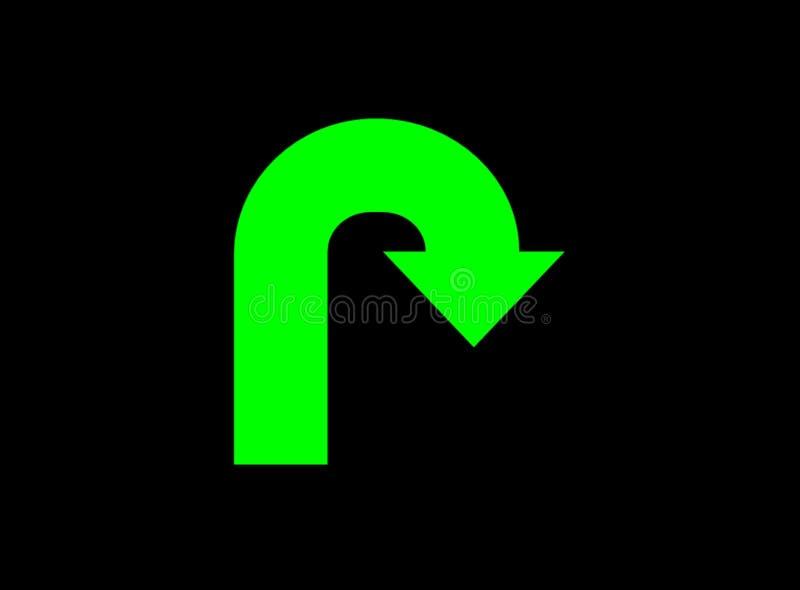 поворот u знака зарева зеленый иллюстрация вектора