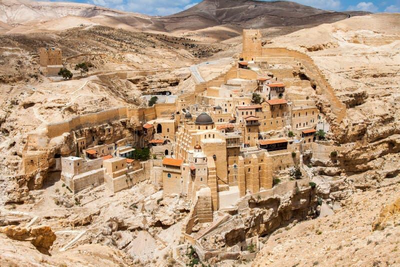 Повредите Saba, святое Lavra Святого Sabbas, восточного правоверного христианского монастыря Западный берег, Палестина, Израиль стоковая фотография rf