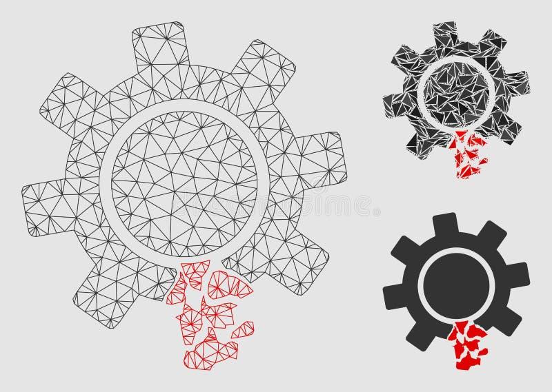 Поврежденный значок мозаики модели и треугольника туши сетки вектора зуба шестерни бесплатная иллюстрация