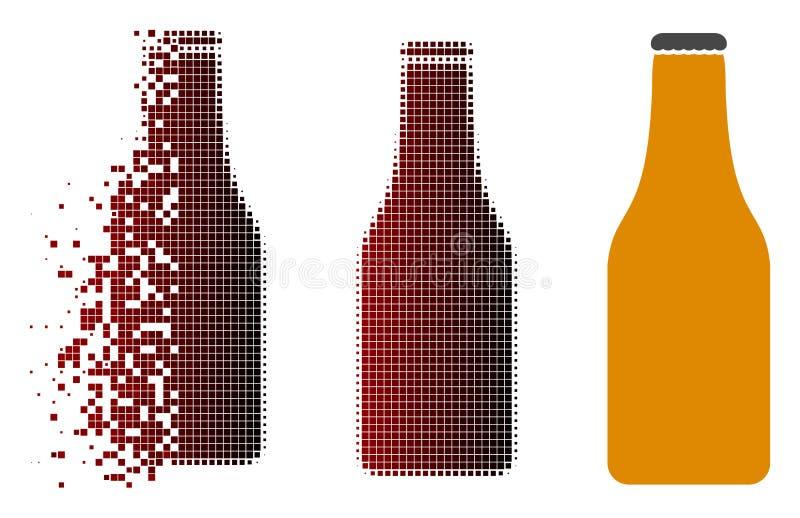 Поврежденный значок пивной бутылки полутонового изображения Pixelated иллюстрация вектора