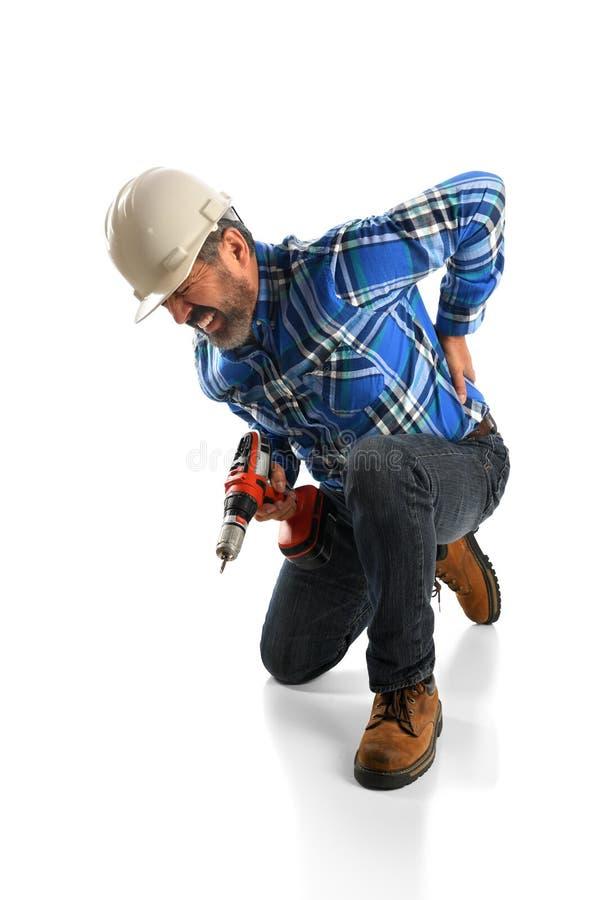 Повреждение спины работника страдая стоковое изображение rf