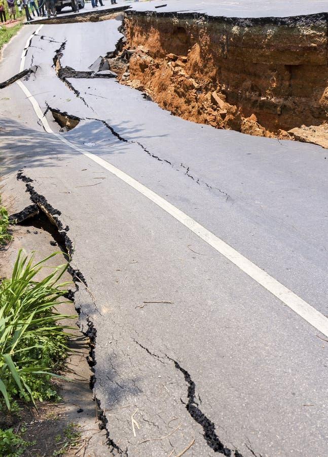 поврежденная дорога стоковое изображение rf