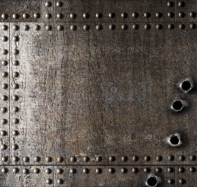 Поврежденная предпосылка металла с пулевыми отверстиями стоковое фото