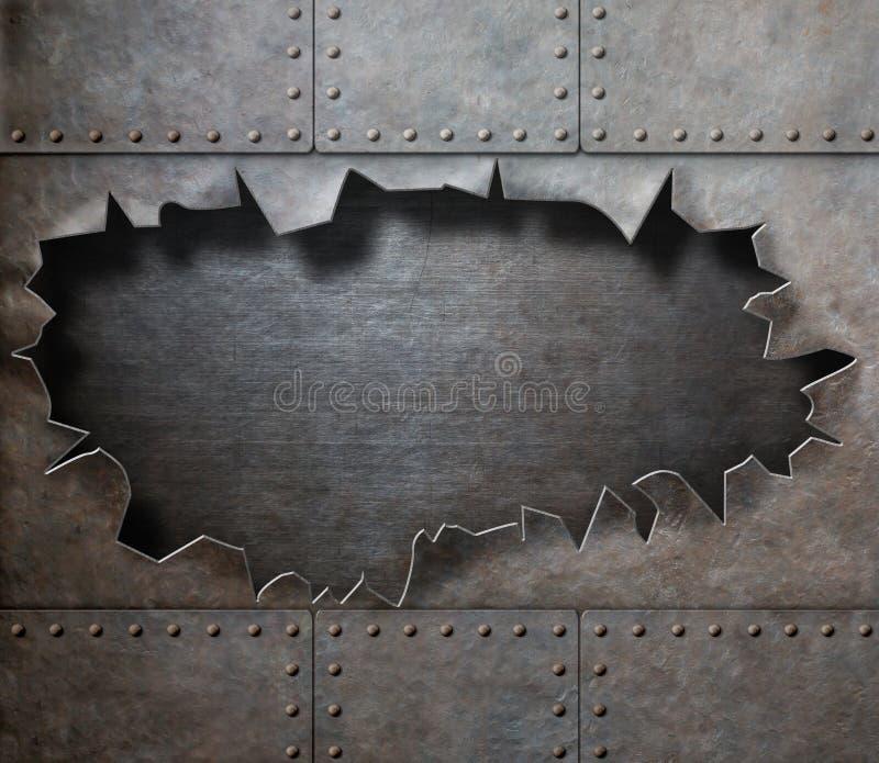Поврежденный панцырь металла с сорванным панком пара отверстия стоковая фотография rf