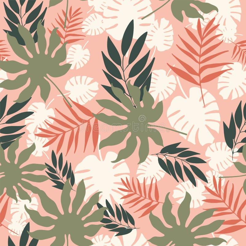 Повторение картины мягких пастельных тропических листьев вектора безшовное бесплатная иллюстрация