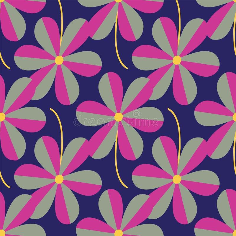 Повторение картины стилизованных цветков вектора безшовное на темно-синей предпосылке иллюстрация штока