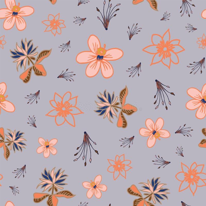 Повторение картины тропических цветков вектора безшовное на светлом - голубая предпосылка иллюстрация вектора