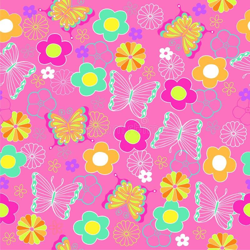 повторение картины цветков бабочки безшовное бесплатная иллюстрация