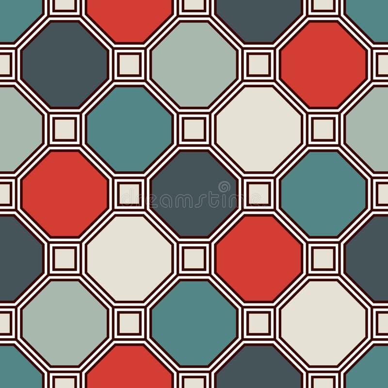Повторенная предпосылка мозаики цветного стекла восьмиугольников Ретро керамические плитки Безшовная картина с геометрическим орн бесплатная иллюстрация