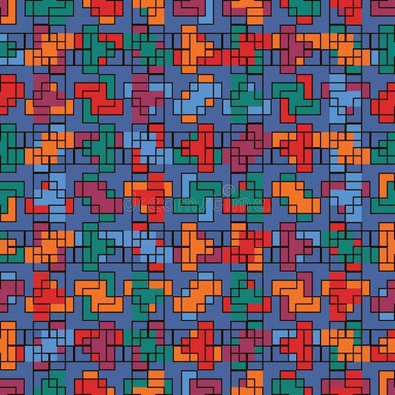 Повторенная творческая мозаика головоломки Геометрический безшовный дизайн картины Текстура поверхности искусства пиксела Совреме иллюстрация штока