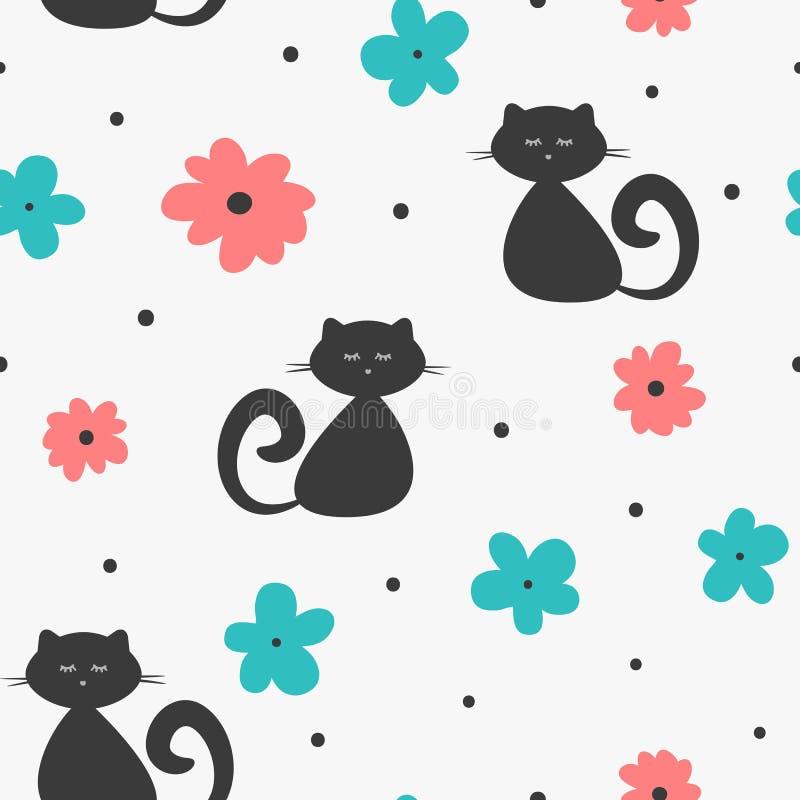 Повторенные абстрактные силуэты котов, цветков и точек польки Милая безшовная картина для детей иллюстрация штока
