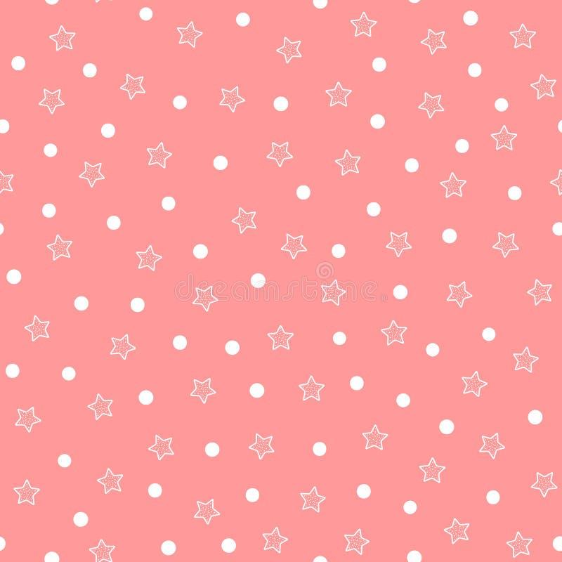 Повторенные белые звезды и круги на розовой предпосылке милая картина безшовная иллюстрация вектора