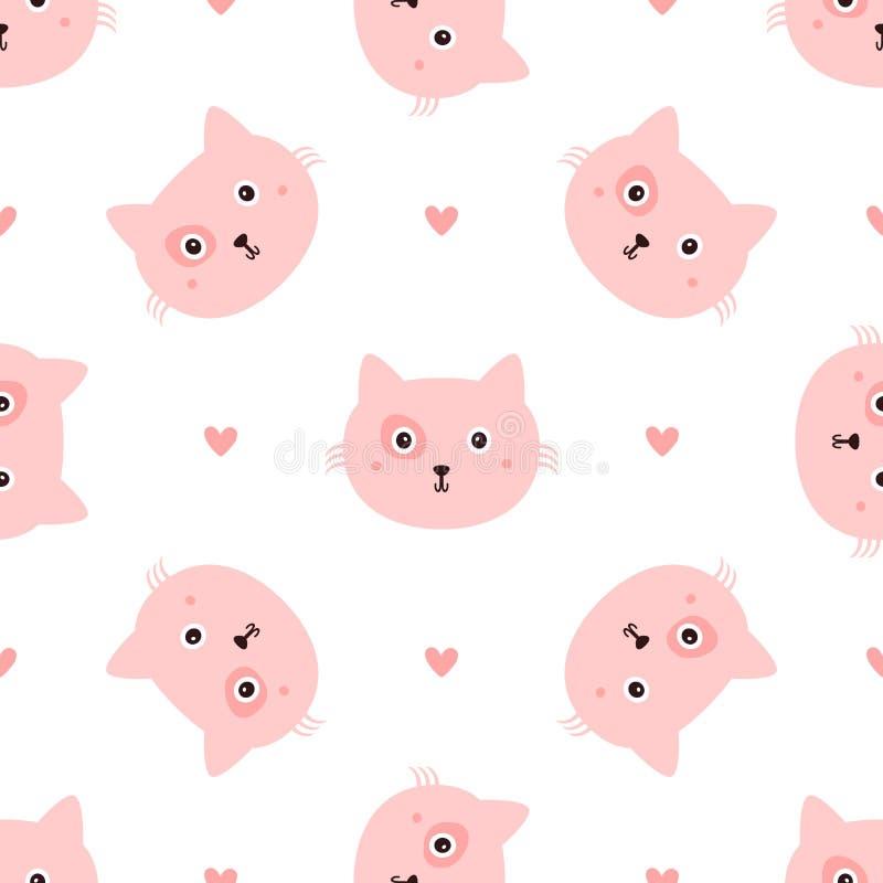 Повторенные головные коты и сердца нарисованные вручную Безшовная картина с милым животным иллюстрация вектора