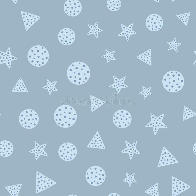 Повторенные звезды, круги и треугольники геометрическая картина безшовная иллюстрация штока