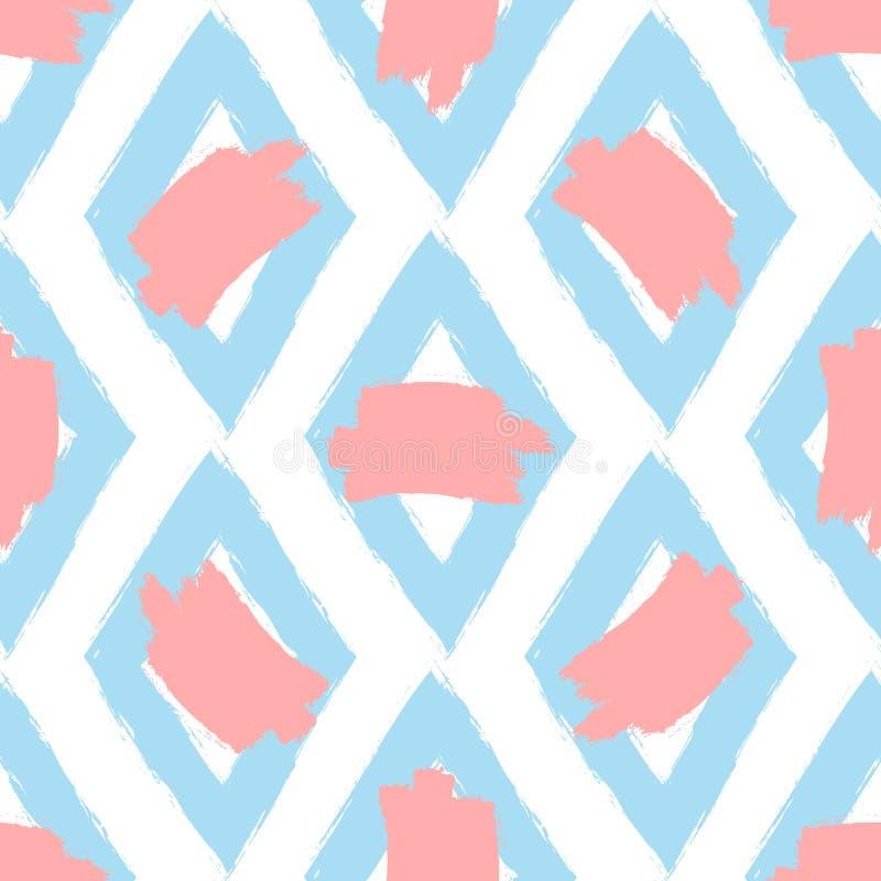 Повторенные косоугольники и пятна краски Нарисованный вручную с грубой щеткой картина безшовная иллюстрация вектора