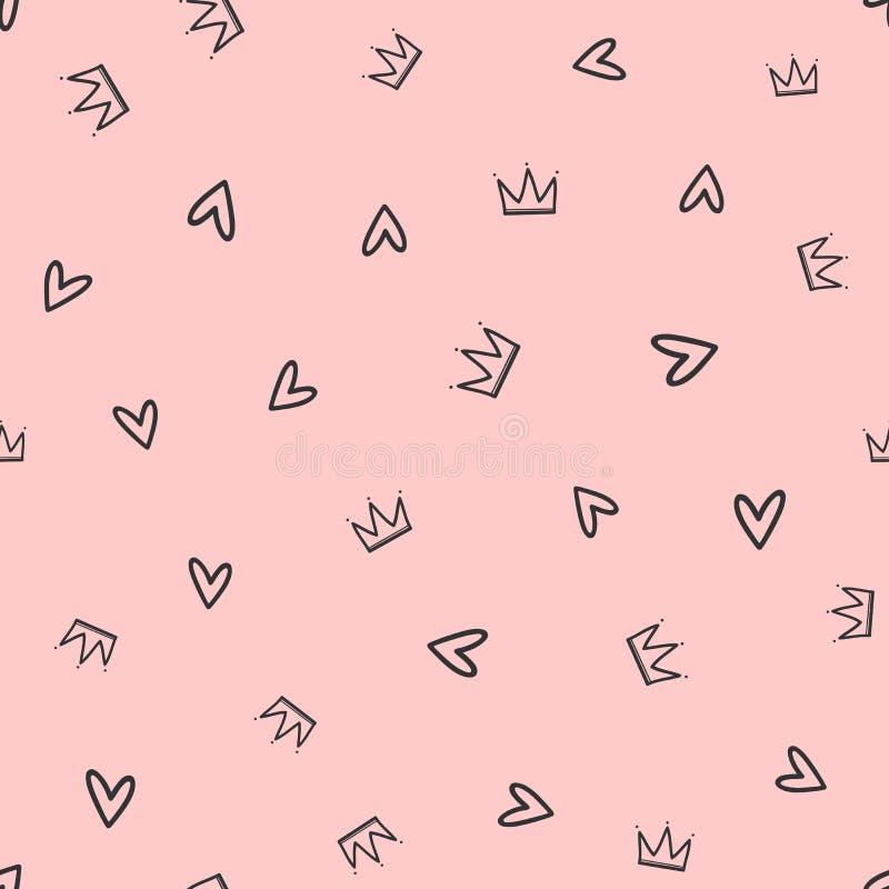 Повторенные кроны и сердца нарисованные вручную Милая безшовная картина для девушек иллюстрация штока