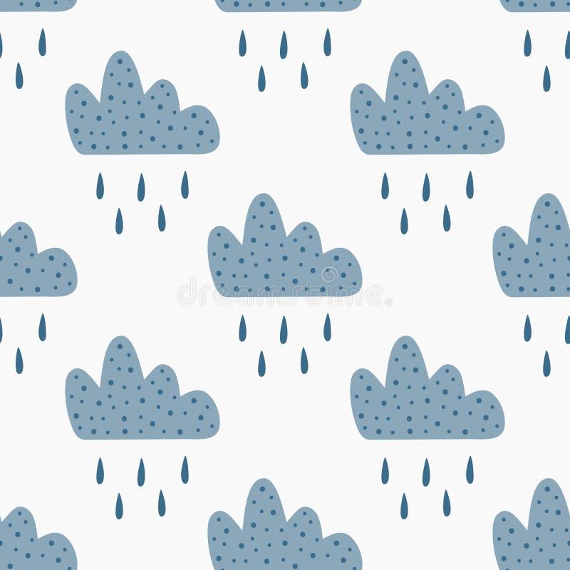 Повторенные облака с падениями падая дождя Милая безшовная картина для детей иллюстрация штока