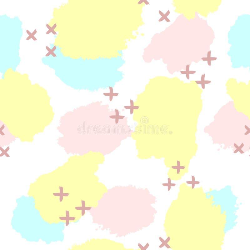 Повторенные пятна и кресты watercolour нарисованные вручную Милая абстрактная безшовная картина Grunge, эскиз, акварель бесплатная иллюстрация
