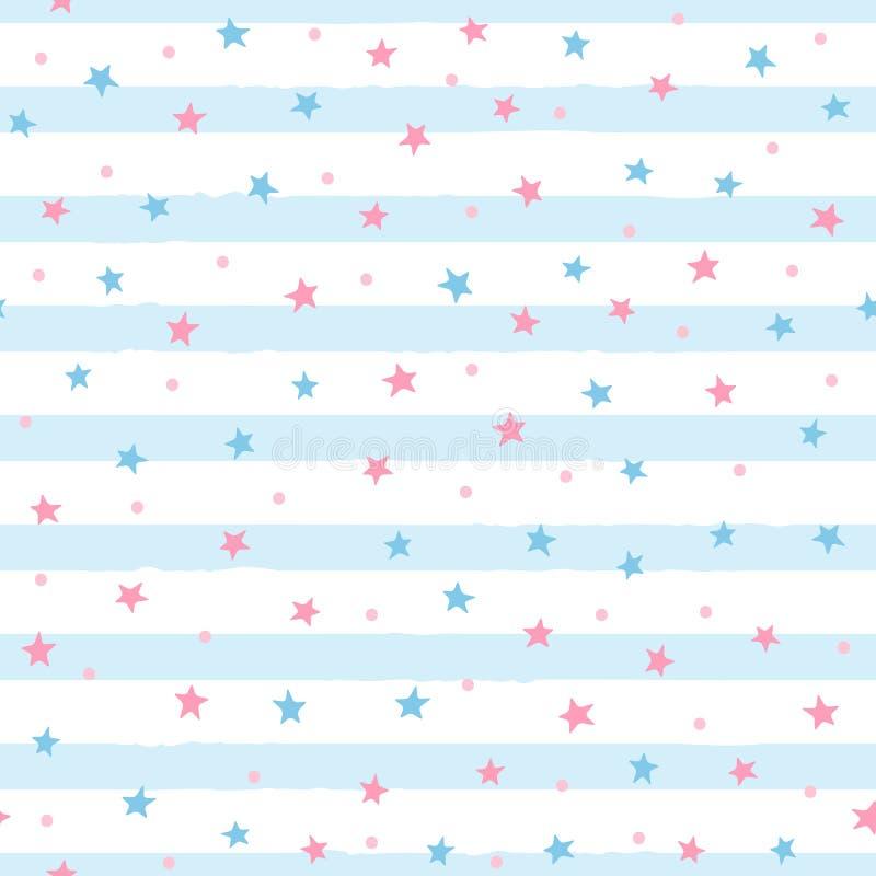 Повторенные разбросанные звезды и круглые точки на неровной striped предпосылке Милая безшовная картина для девушек иллюстрация штока