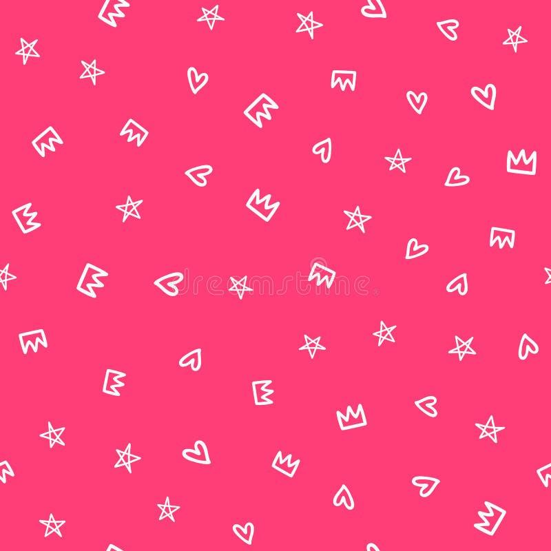 Повторенные сердца, звезды и кроны нарисованные вручную Милая girly безшовная картина бесплатная иллюстрация