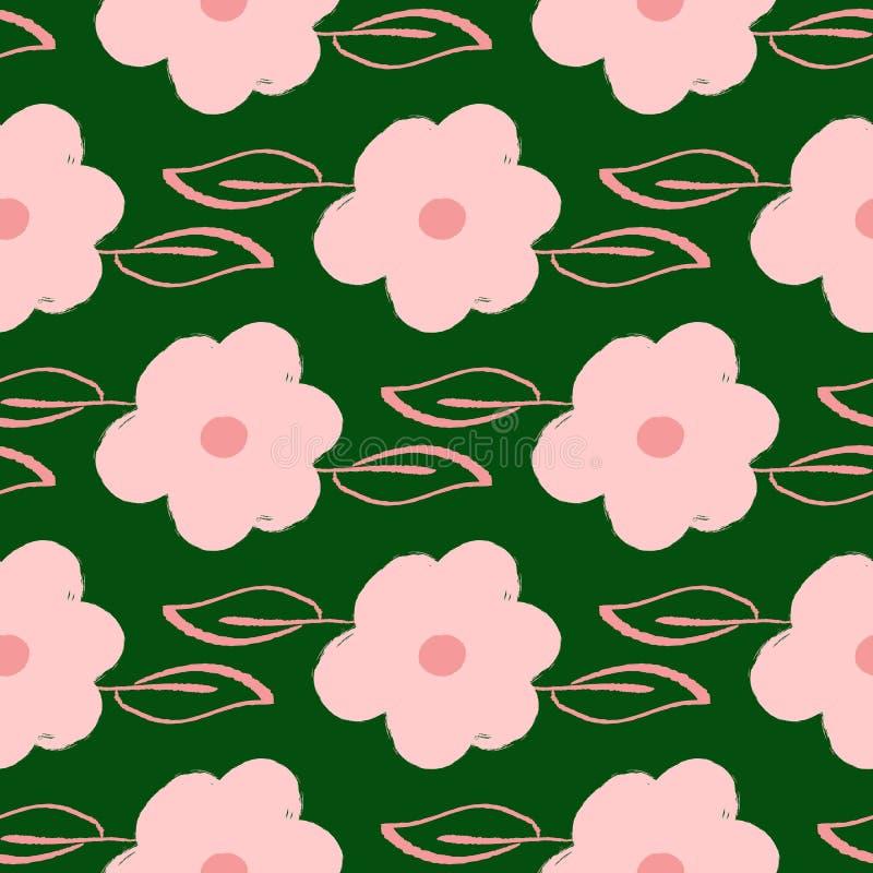 Повторенные цветки и листья нарисованные вручную с грубой щеткой Женственная флористическая безшовная картина Grunge, эскиз, аква иллюстрация вектора