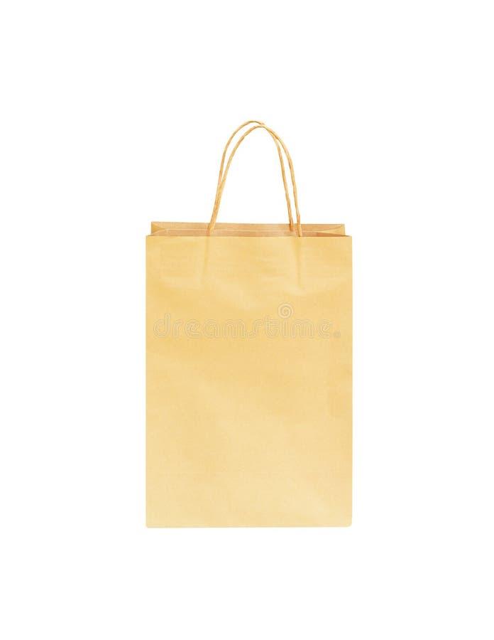 Повторно использованные коричневые бумажные хозяйственные сумки изолированные на белой предпосылке с путем клиппирования стоковые изображения rf