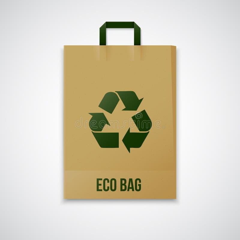 Повторно использованный коричневый бумажный мешок eco вектора стоковое изображение rf