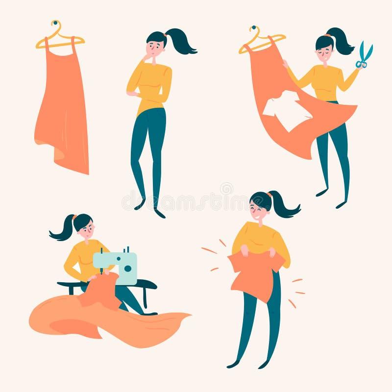 Повторно использовать ткани Новая ткань от старого платья иллюстрация штока
