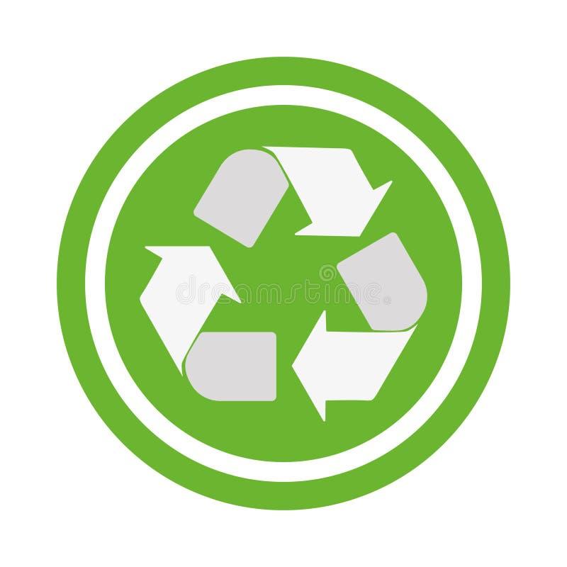 Повторно используйте значок вектора Стиль плоско округленный символ, цвет eco зеленый, округленные углы, белая предпосылка иллюстрация штока